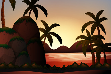 ocean view: Silhouette ocean view with palm trees and rocks Illustration