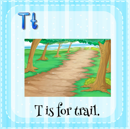 rural road: Flashcard letter T is for trail Illustration