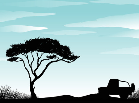four wheel: Silhouette scene of field with four wheel drive parking on ground