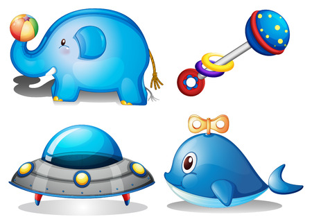 toys clipart: Flashcard of blue color theme with baby toys Illustration