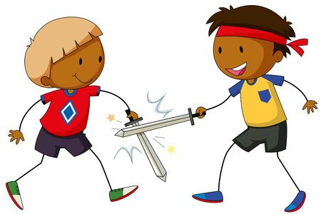 niños actuando: Dos muchachos que juegan lucha de la espada Vectores