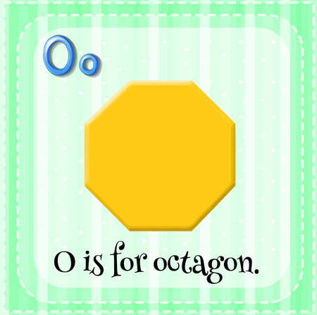 octagon: Flashcard letter O is for octagon
