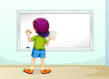 niños pensando: Escritura del muchacho en la pizarra dentro de la habitación