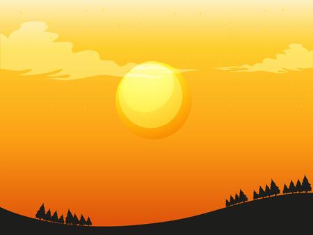 evening: Sunset silhouette illustration in evening
