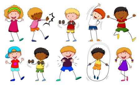 niño empujando: Niños y niñas haciendo diferentes actividades