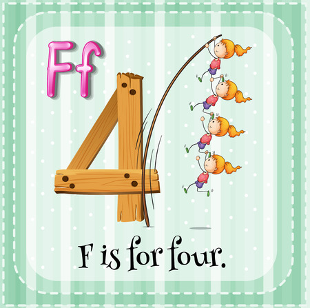 numbers clipart: Flashcard of alphabet F is for four Illustration