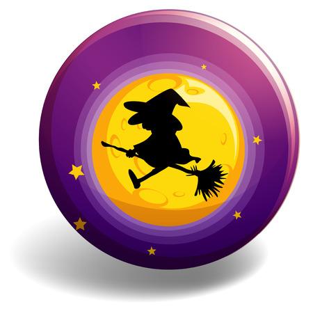 wiedźma: Sylwetka czarownica na miotle kij latania na księżyc Ilustracja