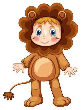 niños vistiendose: Niño lindo en traje de león Vectores