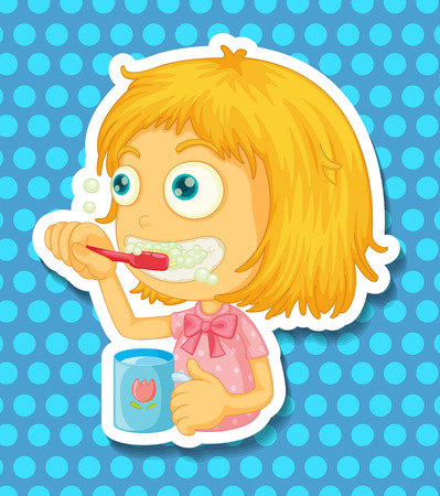 brushing teeth: Girl with the cup brushing her teeth Illustration