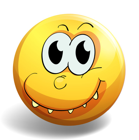 close up eye: Yellow facial expression emoticon with smiling teeth