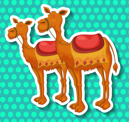 humps: Stickers of two camels on a blue circular pattern background