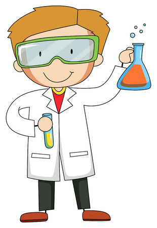 man close up: Male scientist wearing goggles and gown Illustration