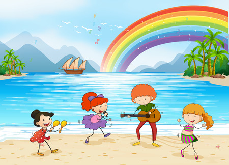 cartoon human: Children singing and dancing at the beach side