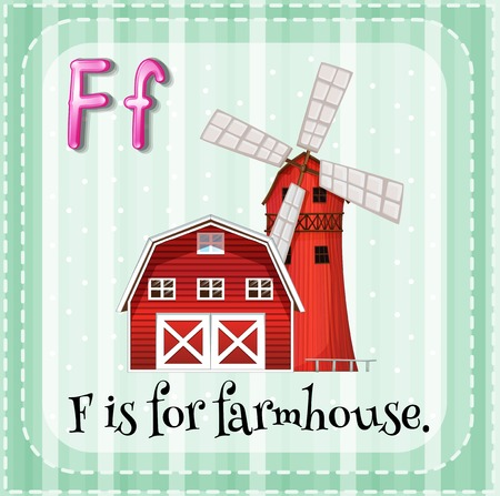 Flashcard letter F is for farmhouse