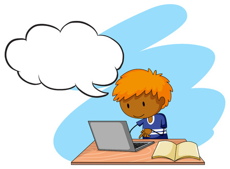 assignment: Boy doing his assignment on a laptop Illustration