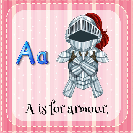 sheild: Flashcard letter A is for armour