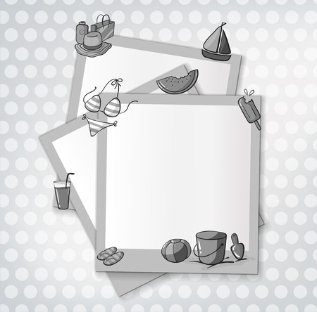 blank sign: Blank sign with beach objects design Illustration