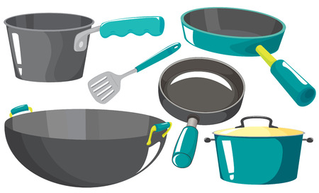 stainless steel pot: Different kind of kitchen equipments Illustration