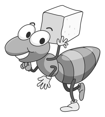 sugar cube: Ant carrying a cube of sugar illustration in black and white Illustration