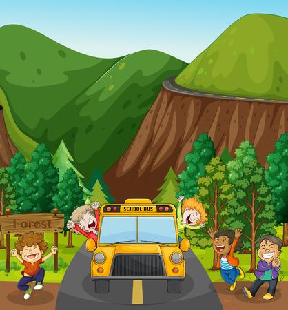 I bambini in gita scolastica ad un bosco