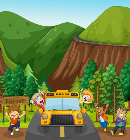 Dzieci na szkolną wycieczkę do lasu