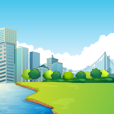 lake district: City scene with park and skyscrapers in the background