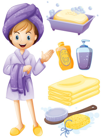 woman in bath: Set of bathroom objects with girl in robe