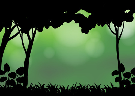 grass land: Silhouette forest with blur green background Illustration