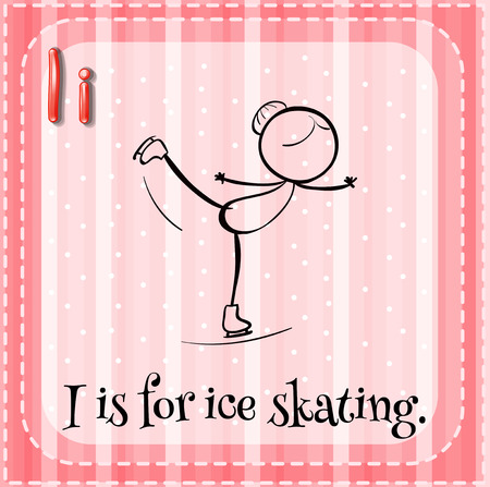 i kids: Flashcard letter I is for ice skating Illustration