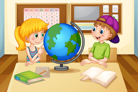 children room: Boy and girl looking at the globe in classroom
