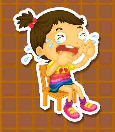 crying: Sad girl on the chair crying