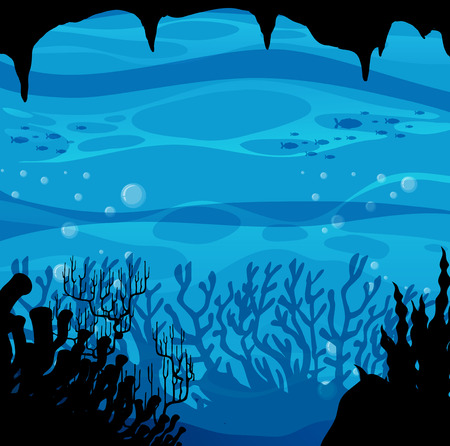 corales marinos: Silueta de la escena bajo el agua con los arrecifes de coral