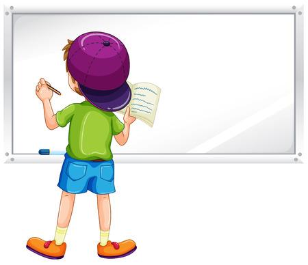libro caricatura: Escritura del muchacho en la pizarra con un marcador Vectores