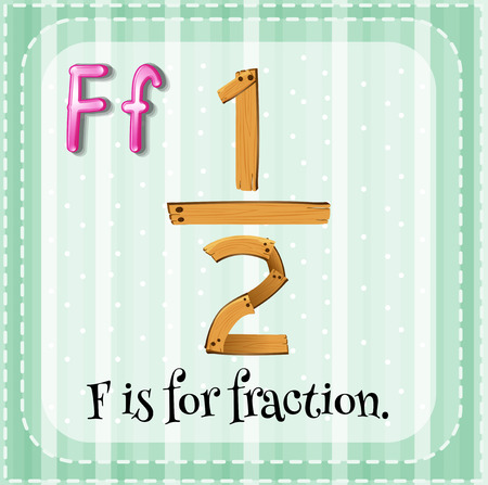 cartoon numbers: Flashcard letter F is for fraction Illustration