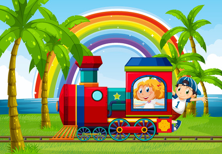 cartoon human: Boy and girl riding on a train with rainbow background