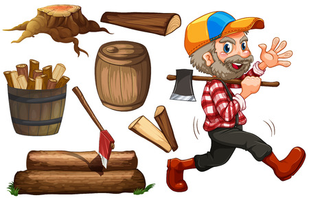 cartoon wood bucket: Set of lumberjack and chopped wood