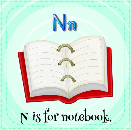 letter writing: Flashcard letter N is for notebook