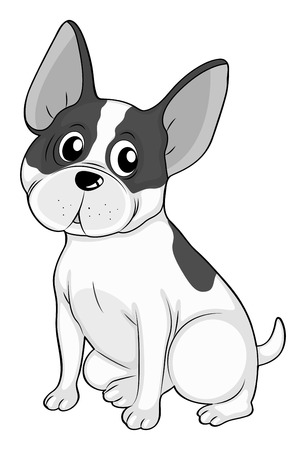dog ears: Big ears dog illustration in black and white