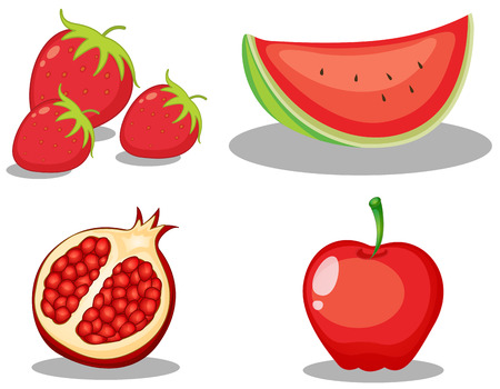 red color: Set of red colour theme fruit on white background