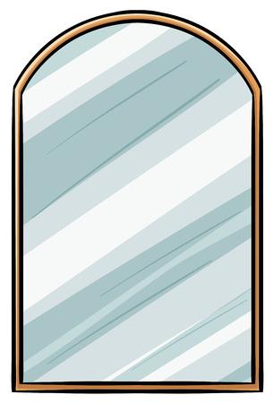 mirror?: Ilustración del espejo con marco de madera