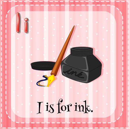 i kids: Flashcard letter I is for ink Illustration