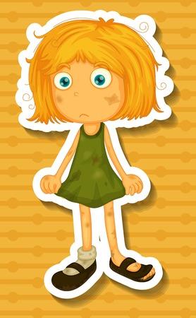 Blond meisje in vuile groene jurk