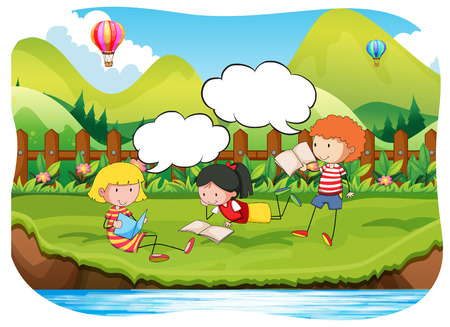 three children: Three children reading books in the park
