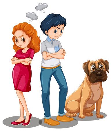 mujer con perro: Cartel de una pareja de estar enojado el uno al otro y un perro sentado cerca de ellos Vectores
