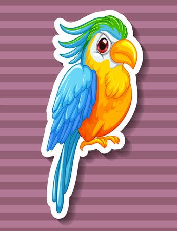 papagayo: Loro colorido mirando serio sobre fondo morado Vectores