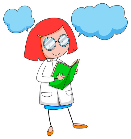 gente adulta: Científico de sexo femenino que lee un libro Vectores