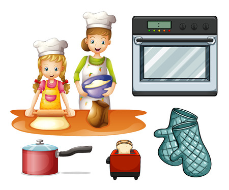 cartoon bread: Mother and daughter cooking and baking Illustration
