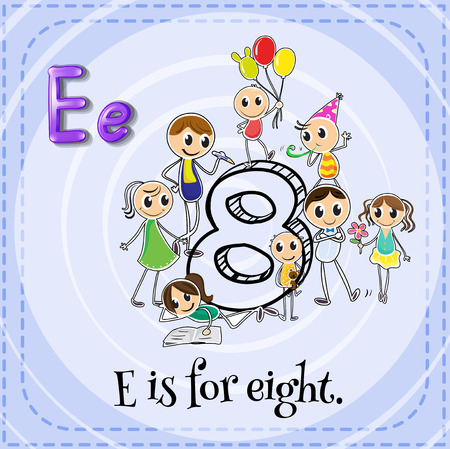 eight: Flashcard letter E is for eight Illustration