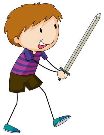 role play: Little boy holding a silver sword Illustration