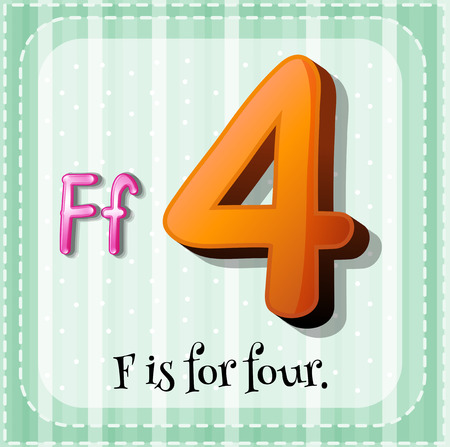 numbers clipart: Flashcard letter F is for four Illustration